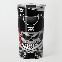 Skull Pirate Captain with Crossed Sabers Travel Mug