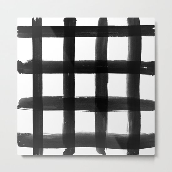 Black Brush Strokes Metal Print