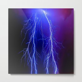 Lightning Electricity Elements Danger Night Lines Patterns Ultra Metal Print