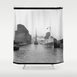 South Branch of the Chicago River at 14th Street 1900 Shower Curtain