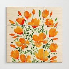 Watercolor California poppies Wood Wall Art