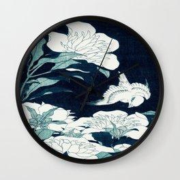 JAPANESE FLOWERS Midnight Blue Teal Wall Clock