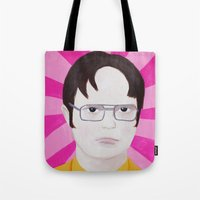 dwight schrute Tote Bags featuring Dwight by kate gabrielle