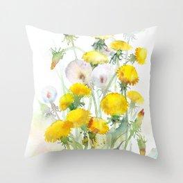 Watercolor yellow flowers dandelions Throw Pillow