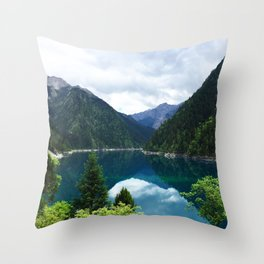 长海 // Long Lake, Jiuzhaigou Throw Pillow