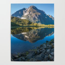 Mountain Reflection in the Bay at Milford Sound Poster