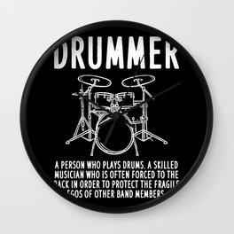 Funny Drummer Definition Wall Clock