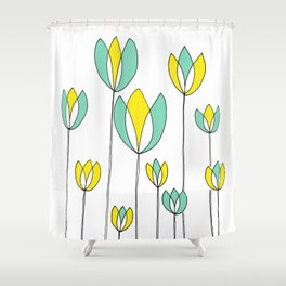 Drawing of Teal and Yellow Happy Tulips by Emma Freeman Designs Shower Curtain