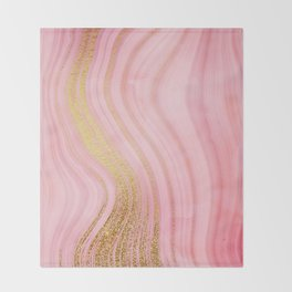 Walk with the waves - Pink and Gold Mermaid Marble Throw Blanket
