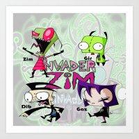 invader zim Art Prints featuring Invader Zim best decoration ideas by customgift