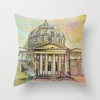 roman Throw Pillows featuring Ateneul Roman by Nechifor Ionut