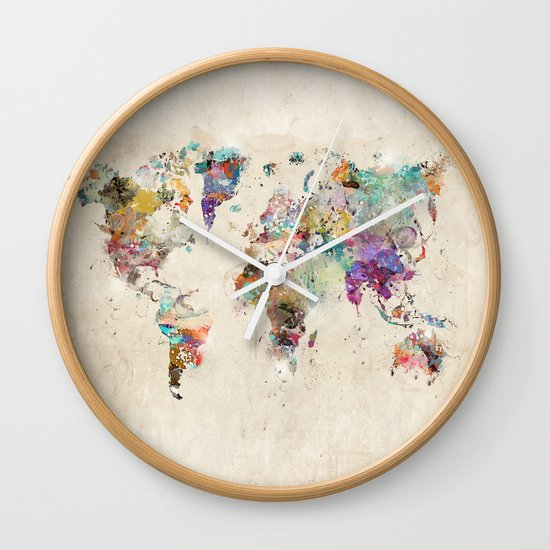 World map rustic wall clock by bribuckley society6 gumiabroncs Choice Image