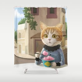 Yummy ice cream and a Cat Shower Curtain