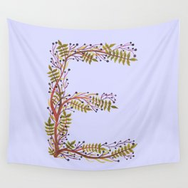Leafy Letter E Wall Tapestry