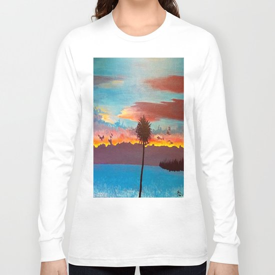 The Beautiful Key West Sun is captured in this ocean sunset painting Long Sleeve T-shirt