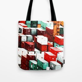 Mint Red Shipping Containers  Tote Bag
