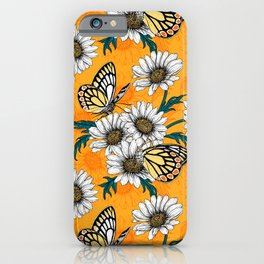 Jezebel butterflies and daisy flowers iPhone Case