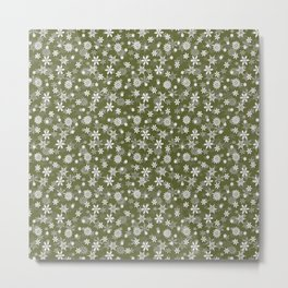 Festive Terrarium Moss Green and White Christmas Holiday Snowflakes Metal Print