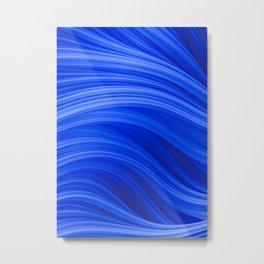 Flow Strand. Endless Blue. Abstract Art Metal Print