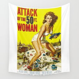 Attack Of The 50 Foot Woman, vintage horror movie poster Wall Tapestry