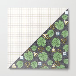 Modern tropical leaves and square grid design Metal Print