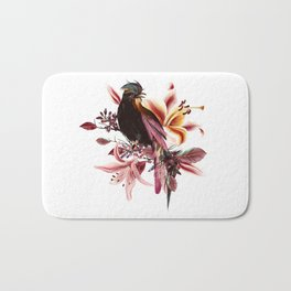 Beautiful tropical bird sit on branch Bath Mat