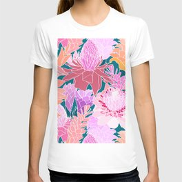 Ginger Flowers in Coral + Dark Teal Green T-shirt