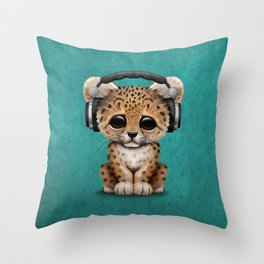 Cute Leopard Cub Dj Wearing Headphones on Blue Throw Pillow