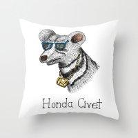 honda Throw Pillows featuring Honda Civet by Mike Rubenstein