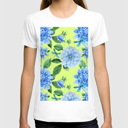 Modern blue lime punch watercolor dahlia floral pattern T-shirt