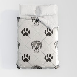 Merle Great Dane Paw Print Pattern Comforters