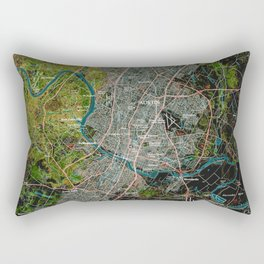 Austin Texas old vintage colorful map, original gift for office decoration Rectangular Pillow