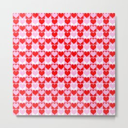 Love Heart Red Pink and White Check Pattern Metal Print