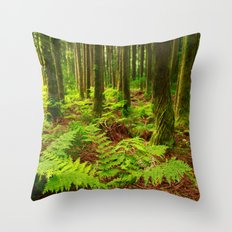 Ferns in the forest Throw Pillow