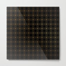 Modern Black and Gold Art Deco Geometric Squares Pattern Metal Print