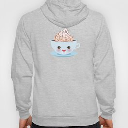 Cute blue pink green Kawai cup, coffee tea with pink cheeks and winking eyes, polka dot background Hoody