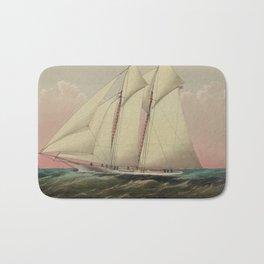 Vintage Schooner Yacht Illustration (1870) Bath Mat