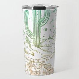 Desert Cactus Dreamcatcher Turquoise Coral Gradient on White Travel Mug