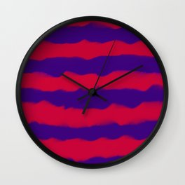 Deep Rich Ruby & Sapphire Indigo Stripes Wall Clock