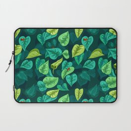 Leaf pattern with red frogs Laptop Sleeve