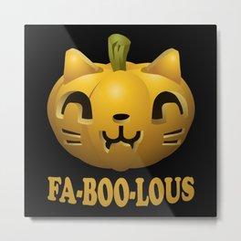 Fabulous Halloween Pumpkin Cat Metal Print