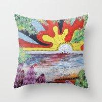 hawaii Throw Pillows featuring Hawaii by Laura Hol Art