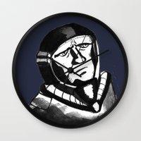 spaceman Wall Clocks featuring SpaceMan by Juicebox Farley