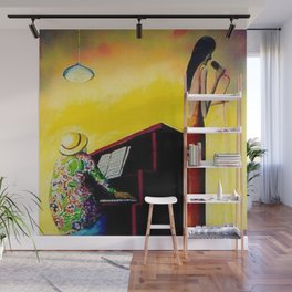 African American Masterpiece 'Moonlight Jazz and Piano' by Benny Andrews Wall Mural