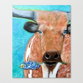Longhorn with Bluebonnet Canvas Print