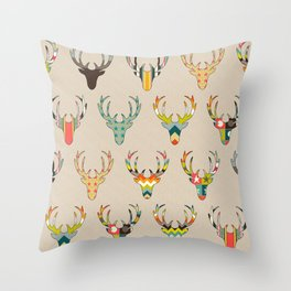 retro deer head on linen Throw Pillow