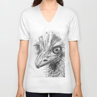 ostrich V-neck T-shirts featuring Ostrich  by Juliette Caron