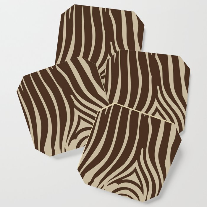 Zebra Stripes | Animal Print | Chocolate Brown and Beige | Coaster