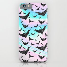 Holographic Glitter Bats Pattern iPhone Case
