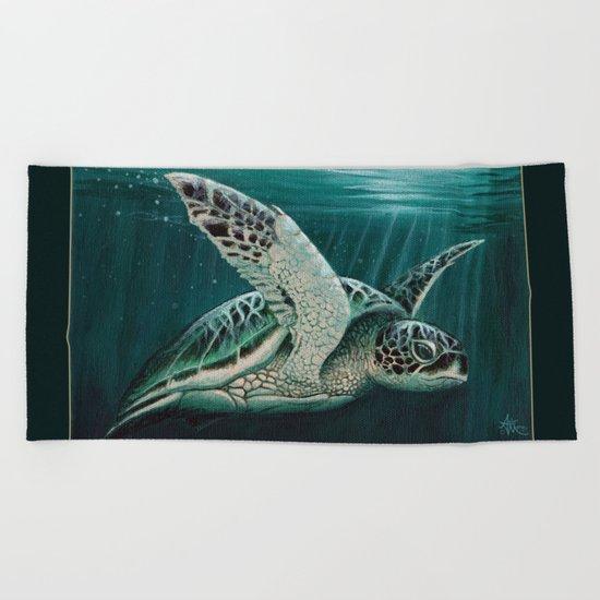 """Moonlit"" by Amber Marine - Sea Turtle, Acrylic Painting, (c) 2015 Beach Towel"
